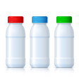 realistic white plastic bottles with red green vector image vector image