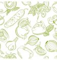 Seamless monochrome pattern vegetable mix vector image