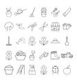 set garden plant icons vector image
