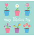 Set of six flowers in pots Blue Valentines day vector image