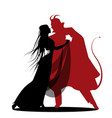 silhouette of romantic devil dancing with a lady vector image vector image