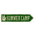 summer camp vintage rusty metal sign vector image
