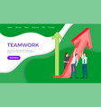 teamwork web page template coworkers holding arrow vector image
