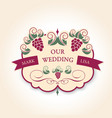 template wedding badge in vintage style ideal vector image vector image