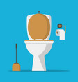 toilet bowl lavatory paper and toilet brush vector image vector image