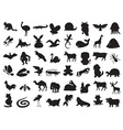 wild and domestic animals silhouette vector image vector image