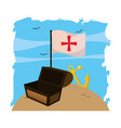 wooden chest box with flag cross and anchor vector image