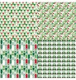 4 Christmas color different seamless patterns set vector image