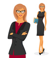 Businesswoman in red dress vector image