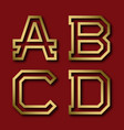 a b c d gold angular letters with shadow vector image vector image