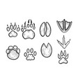 animal tracks sketch engraving vector image vector image