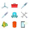 auto service icons set cartoon style vector image vector image