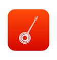 banjo icon digital red vector image