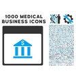 Bank Building Calendar Page Icon With 1000 Medical vector image