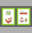 best wishes merry christmas cards santa new year vector image