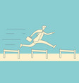 businessman jumping over hurdles vector image vector image