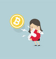 businesswoman attracting bitcoin with magnet vector image vector image