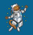cartoon cat astronaut sketch engraving vector image vector image