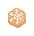 cartoon ginger bread cookie snowflake hand drawn vector image