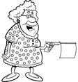 Cartoon of an old lady shooting a gun vector image vector image