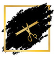 ceremony ribbon cut sign golden icon at vector image