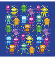 colorful cute robot set on blue background vector image vector image