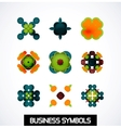 Colorful geometric business symbols Icon set vector image