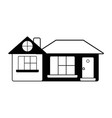 contour big house with roof and windows with door vector image vector image