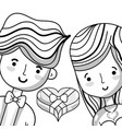 couple lover with heart chocolate vector image vector image