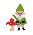 cute gnome with mushroom character vector image vector image