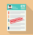 cv with rejected stamp vector image