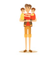 dad holding twin kids on his hands vector image vector image