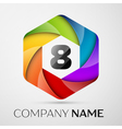 Eight number colorful logo in the hexagonal on vector image vector image