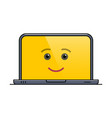 funny laptop computer isolated emoticon vector image vector image
