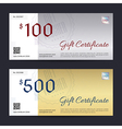 Gift Certificate Gift Voucher Gold Silver vector image