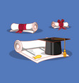 graduation card with hat and diploma vector image