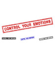 grunge control your emotions scratched rectangle vector image vector image