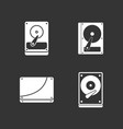 hard disk icon set grey vector image