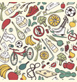 healthy lifestyle seamless pattern hand drawn vector image