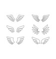 isolated wings outline icon set vector image vector image
