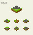 isometric road set of plane road asphalt and vector image vector image