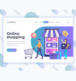 landing page template online shopping concept with vector image vector image