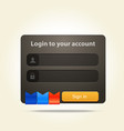 login window with place for text and social media vector image vector image