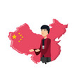 map china with man isolated icon vector image vector image