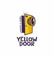 modern professional sign logo yellow door vector image