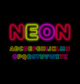 neon letters set glowing colorful font luminous vector image vector image