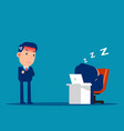 office worker relaxing at desk during work and vector image
