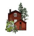 old traditional scandinavian wooden houses vector image