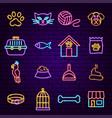 pet shop neon icons vector image