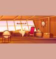 pirate captain ship cabin interior vector image vector image